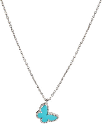 Van Cleef & Arpels Sweet Alhambra Turquoise Butterfly 18K White Gold Pendant Necklace