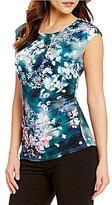 Calvin Klein Floral Printed Matte Jersey Cap Sleeve Top