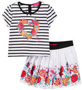 Betsey Johnson Striped Top & Floral Border Print Skirt Set (Little Girls)