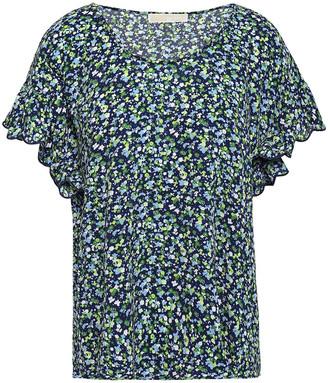 MICHAEL Michael Kors Ruffle-trimmed Floral-print Crepe Top