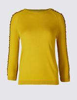 Per Una Lace Applique Round Neck 3/4 Sleeve Jumper