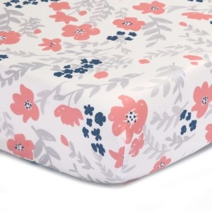 The Peanut Shell The Coral & Navy Floral Print Cotton Fitted Crib Sheet Bedding