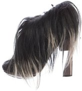 Nicholas Kirkwood Suede Goat Hair-Trimmed Booties