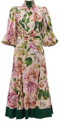 Dolce & Gabbana Peony-print Silk-blend Georgette Midi Dress - Womens - Pink Print