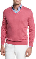 Peter Millar Crown Cotton/Silk V-Neck Sweater, Gray Sound