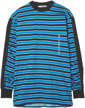 Givenchy Twill-trimmed Printed Striped Cotton-jersey Top
