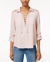 American Rag Lace-Up Roll-Tab Blouse, Only at Macy's