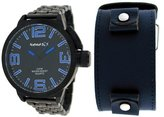 Nemesis #ST040L Men's Black IP Russian Diver Watch with Extra Changeable Premium Wide Leather Strap