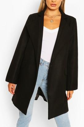 boohoo Notch Neck Wool Look Coat