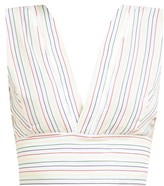 Zeus + Dione - Pelion Striped Tie-waist Cotton Cropped Top - Womens - White