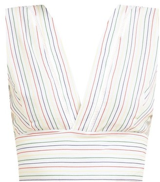ZEUS + DIONE Pelion Striped Tie-waist Cotton Cropped Top - White