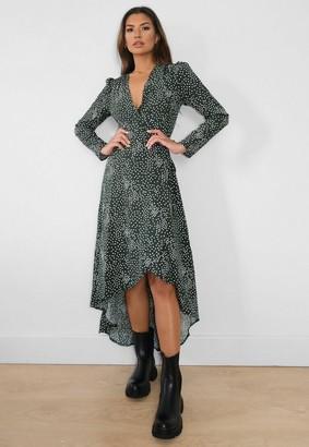 Missguided Polka Dot High Low Wrap Midi Dress
