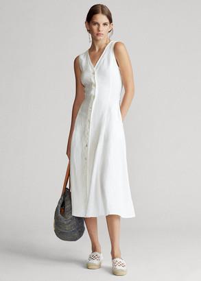Ralph Lauren Buttoned-Placket Linen Dress