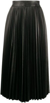 RED Valentino leather pleated mid-length skirt
