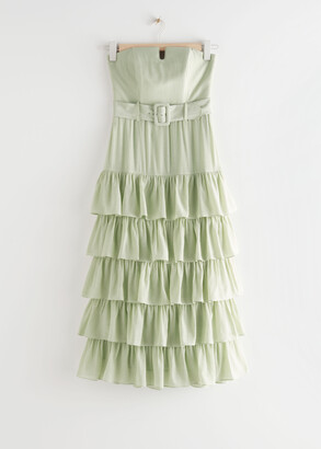 And other stories Ruffled Strapless Midi Dress
