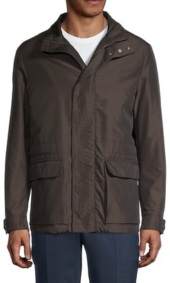 Canali Leather-Trim Casual Jacket