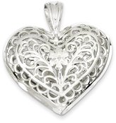 1928 Gold and Watches Sterling Silver Filigree Heart Charm