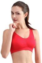 Feoya Women's Nylon Seamless Soft Sport Bra Vest for Yoga Running Gym Size M