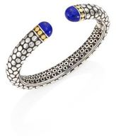 John Hardy Batu Dot Lapis Lazuli, 18K Yellow Gold & Sterling Silver Medium Kick Cuff Bracelet