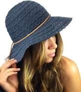 NYFASHION101 Open Knit Brown Braided Trim Vented Cotton Beach Sun Hat