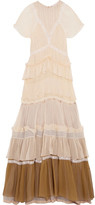 Chloé Tiered Lace-trimmed Silk-crepon Gown - Peach