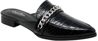 Charles by Charles David Emblem Chain Reptile Embossed Pointed Toe Mule