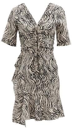 Isabel Marant Arodie Zebra-print Silk-blend Dress - White Print