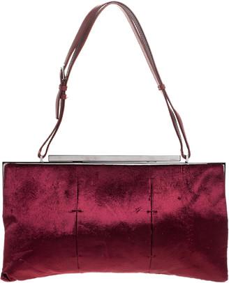 Gucci Burgundy Velvet Frame Shoulder Bag