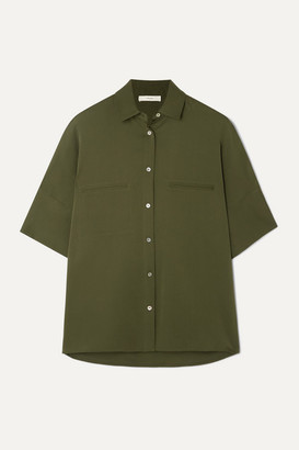 Vince Stretch-silk Blouse - Army green