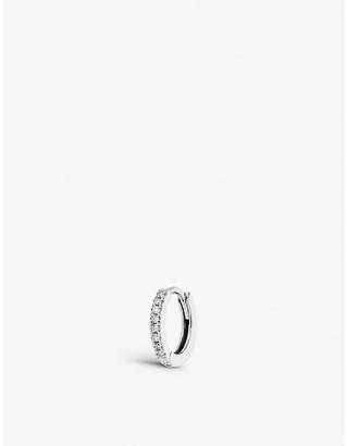Selfridges Medium diamond white gold huggie hoop
