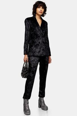 Topshop Womens Black Bonded Velvet Trousers - Black