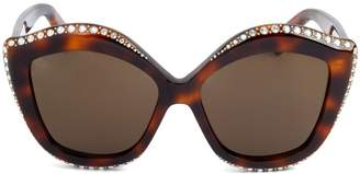 Gucci 53MM Swarovski Crystal Embellished Oversized Cat Eye Sunglasses
