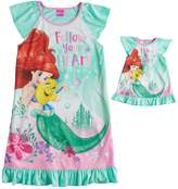 "Disney Disney's Ariel & Flounder Girls 4-8 ""Follow Your Heart"" Nightgown & Doll Gown Set"