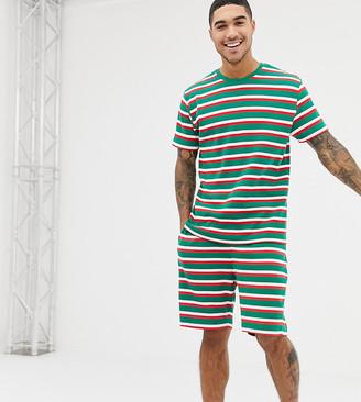 Asos DESIGN Holidays short pyjama set in festive stripes