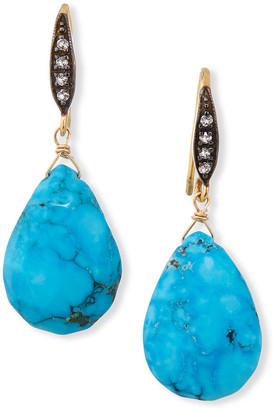Margo Morrison Sapphire-Hook Short Turquoise-Drop Earrings