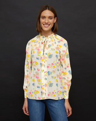 Jigsaw Candy Floral Tie Neck Top