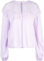 Giambattista Valli floral lace detail knitted top