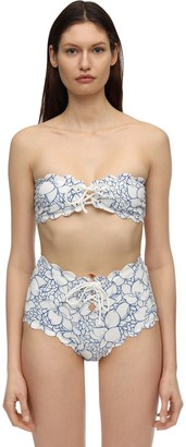 Marysia Swim Antibes Printed Bikini Bandeau Top