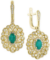 Effy Final Call Emerald (7/8 ct. t.w.) and Diamond (1/4 ct. t.w.) Drop Earrings in 14k Gold