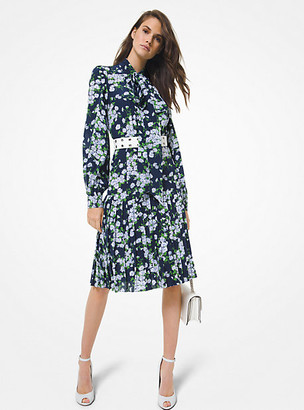 Michael Kors Daisy Silk Crepe De Chine Pleated Shirtdress