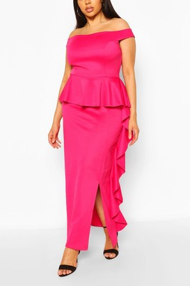 boohoo Plus Off The Shoulder Peplum Maxi Dress