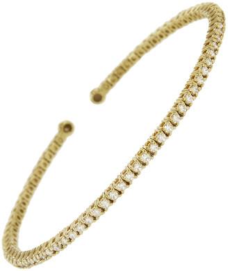 Jennifer Meyer Diamond 4 Prong Tennis Cuff Bracelet - Yellow Gold