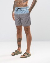 Asos Swim Shorts In Gray Acid Wash With Blue Panel Mid Length