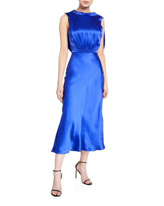 Saloni Fleur Silk Tie-Back Midi Dress