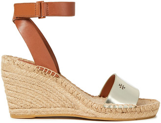 Tory Burch Bima Two-tone Leather Wedge Espadrille Sandals