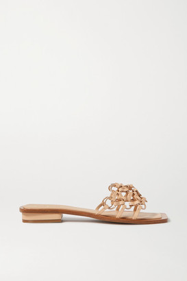 Cult Gaia Bea Embellished Woven Leather Sandals - Beige