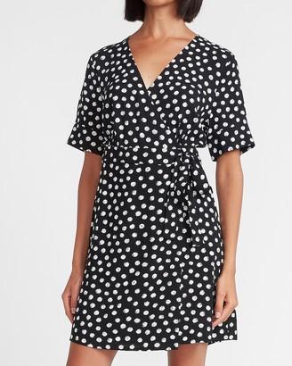 Express Polka Dot Belted Wrap Front Dress