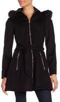 Laundry by Shelli Segal Faux Fur Trimmed Wool-Blend Zip Coat
