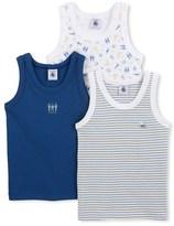 Petit Bateau Set of 3 boys plain/striped/printed tank tops