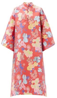 La Vie Style House - No. 448 Floral-brocade Kaftan - Pink Print